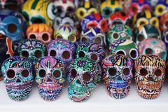 Local souvenirs on display at beach market in Playa Del Carmen, Mexico Royalty Free Stock Photo