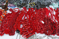 Local Souvenirs made from red coral and natural stones in Punta Cana stock photography