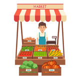 Local stall market. Selling vegetables. Flat vector illustration Stock Photography