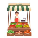 Local stall market. Selling vegetables. Flat vector illustration Stock Photos