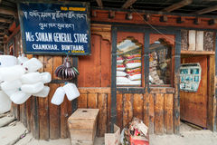 Local store selling wares in Bhutan Royalty Free Stock Image