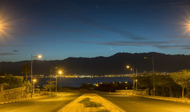 Local street of Eilat running to the Red Sea, Royalty Free Stock Photography