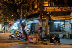 Local street food vendor at a corner in Hanoi's Old Quarter at night. Stock Image