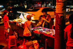Local street market at night in Yangon. Royalty Free Stock Photography