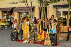 Local street musicians at Festival Cultural. Zacatecas, Mexico, 02 August 2013: Local musicians perform on the street at the 18th Festival Cultural Internacional Stock Images