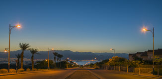 Local street running to the Red sea,Eilat Royalty Free Stock Photo