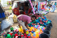 Local street vendor selling plastic products Stock Photography