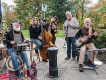 Local string band plays at Farmers Market Stock Images