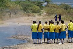 Local students at the Lake Baringo, Kenya Stock Images