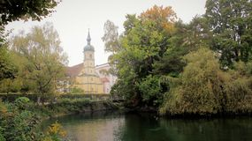Local  Style Historic building with small river and green park. Local style old building on river side and misty morning with green leaves  in Konstanz Germany Royalty Free Stock Photo