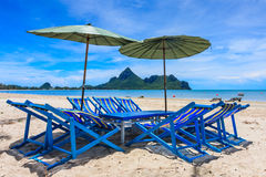 Local Sunbeds on The Beach, Thailand Royalty Free Stock Images