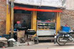 Local sweet and snack shop in Varanasi Stock Images