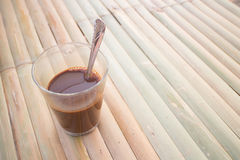 Local thai coffee on the table. Thai local hot coffee on wooden table Stock Photos