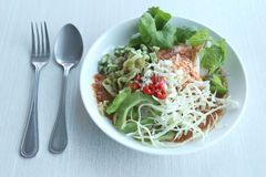 Local Thai foods of Rice Vermicelli is name KHANOM CHIN. Local Thai foods of Rice Vermicelli is name KHANOM CHIN,spicy noodles with vegetable and hot soup royalty free stock photo