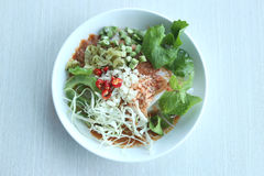 Local Thai foods of Rice Vermicelli is name KHANOM CHIN. Local Thai foods of Rice Vermicelli is name KHANOM CHIN,spicy noodles with vegetable and hot soup stock photos