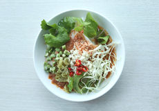 Local Thai foods of Rice Vermicelli is name KHANOM CHIN. Local Thai foods of Rice Vermicelli is name KHANOM CHIN,spicy noodles with vegetable and hot soup stock image