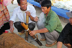 Local tobacco in Bac Ha market Royalty Free Stock Images