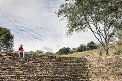 Local tour guide  at Tonina archaeological site in Chiapas, Mexico Stock Photography