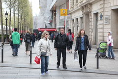 Local and tourisrs on the Avenue des Champs-ely Stock Image