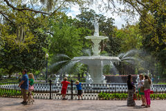 LOcal and tourist enjoying a warm day in Savannah in Georgia, west USA stock images