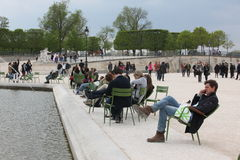 Local and Tourist in the famous Tuileries gard Royalty Free Stock Images