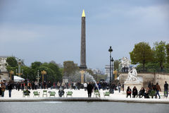 Local and Tourists at Luxor Obelisk an Royalty Free Stock Photo