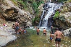 Local tourists at Ravana falls Stock Photos