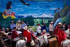 Local town festivities in Pintag, Pichincha. PICHINCHA, ECUADOR - OCTOBER 10, 2010: Unknown local indigenous people celebrating local festivities in Pintag Royalty Free Stock Image