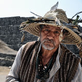 Local Tradesman in Tula Ruins. Local Tradesman wearing traditional costume in Tula Ruins, Mexico Stock Image