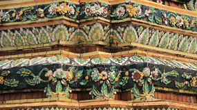 Old Pagoda Decorate With Colorful Flowers Made Of Ceramic Tile royalty free stock photo