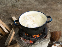 Local Traditional Thai Kitchen. Using Stove For Cooking By Boil In Pot On Bonfire With Orange Flames And Firewood Stock Photos