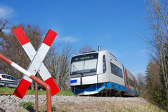 Local train. At crossing in bavaria, germany Royalty Free Stock Images