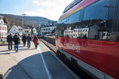 Local train arrives at a station in Bad Muenstereifel Stock Image
