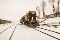 Local train before departure stands by the platform of Kultuk station. Circum-Baikal Railway. Russia Royalty Free Stock Photo