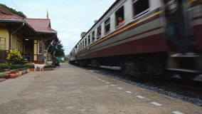 Local train moving out from Station. Local train moving out from  Station Thailand stock video footage