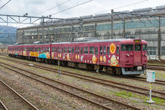 The local train at Nanao station. Royalty Free Stock Photography