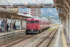 The local train at Nanao station. Stock Photos