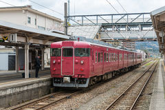 The local train at Nanao station. Stock Images