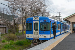 Local train at Shimoyoshida station. Stock Photo