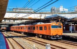 Local train at Tennoji Station in Osaka. Japan Royalty Free Stock Photo