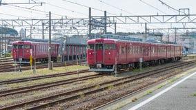 The local trains at Nanao station. Stock Photos