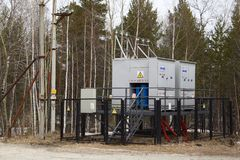 Transformer substation on the power line. stock photo