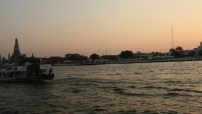 Local transport boat on Chao Phraya river. stock footage
