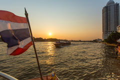 Local transport boat on Chao Phraya river. Royalty Free Stock Photography