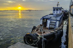Local transport boat in Thailand. With sunset sky background Royalty Free Stock Photos