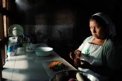local tribal lady preparing traditional food at her rainforest home stock photo