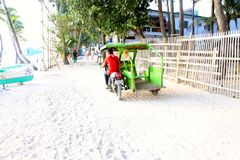 Local trike drivers taking tourists around the island Royalty Free Stock Images