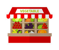 Local vegetable stall. Fresh organic food products shop. Flat Royalty Free Stock Photo