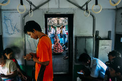 Local vendors riding the circle train in Yangon. stock images