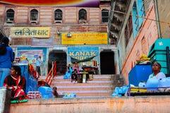 Local vendors in Varanasi, India. Local vendors sitting on steps in Varanasi, India royalty free stock photo
